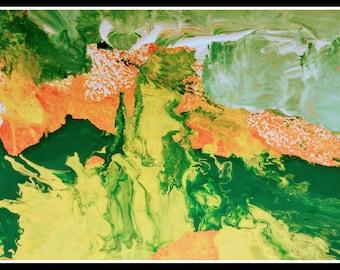 Abstract art giclee print, original painting, green yellow orange canvas art, living room wall art, canvas modern art, acrylic original art