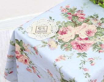 Vintage Rose Bouquet Oxford Cotton - Blue - By the Yard 39103