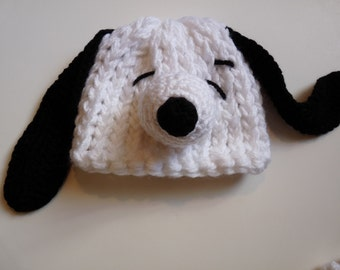 Snoopy inspired knit hat