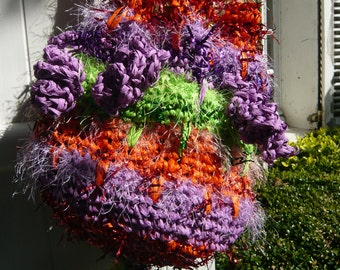 Crochet bag shoulder bag orange lilac neon lime raffia festive gypsy hippie wearable art 3D threads eyelash lurex fiber art wearable art