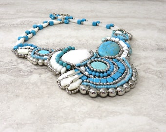 Turquoise Statement Necklace -Large Turquoise Bib Necklace with White & Silver Tribal Native American Inspired Hand Wired by Sharona Nissan