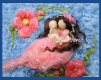 """Printed Note Card - """"Baby Knows the Way"""" -image from wool painting  Waldorf Inspired printed greeting card"""