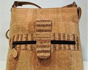 Cork Handbag with Designs - Fine Cork Bag - Cork Purse - Eco-friendly Shoulder Bag - 100% Genuine Natural Cork