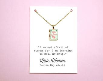 Little Women Book Quote and Locket Charm. Not Afraid of Storms Jo March Quote Card. Book Necklace. Book Jewelry Literary Gift Locket Library