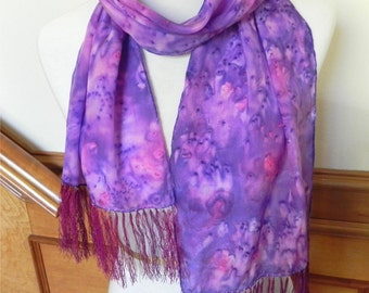 Long silk scarf with fringe hand dyed shades of grape, from vine to wine, crepe silk scarf 11x60, ready to ship #411