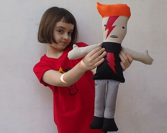 David Bowie Doll Boy doll Soft Toy Hand Made Doll Aladdin Sane  part of a series of Comics dolls