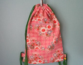 Pink cotton backpack