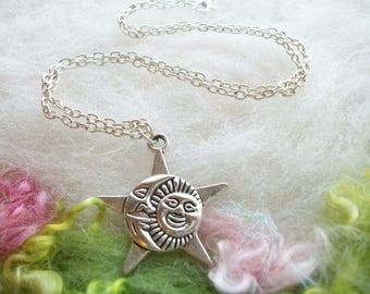 Sun Moon Necklace Silver Star Sun Moon Pendant Star Sun Moon Silver Charm Small Chain Whimsical Celestial Jewelry Retro Charm Necklace