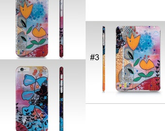 Floral device case for iPad mini, IPhone, Samsung with flowers by mixed media artist Marika Lemay