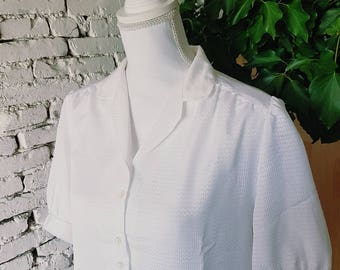 White Light Button Up Blouse Casual Wear Or Sleeping Blouse / Women's Clothing / M Medium Size