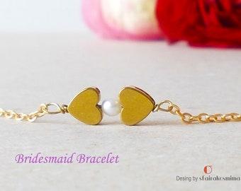 Bridal Pearl Bracelet, Two Heart Bracelet, Gold Heart Bracelet, Sister Love Bracelet, Sterling Silver Pearl, Heart Jewelry, Dainty hearts