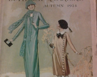 "1924 Butterick Quarterly Magazine Autumn  14 pages of brilliant fashion patterns Vol,XVII no 3 14"" x 11"" topic of gingham in fashion"