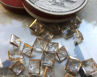 10 Mini Square collectors/glass knobs-with gold and plateau grinding-vintagebuttons (152)