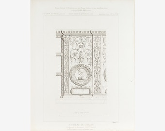 Wall Sculptures and Frescos at Gaillon Castle 1883 Architecture Print