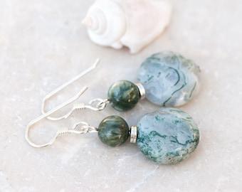 Green Moss Agate Earrings, Seraphinite Earrings, Green Natural Stone Earrings, Sterling Silver, Rustic Earrings, Green and White Earrings