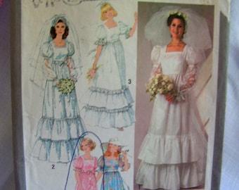 Bride Dress | Retro 70s Ruffles Puff Sleeves | Misses 10 bust 32 | SIMPLICITY 8371 | OOP uncut factory folded vintage 1977 sewing pattern