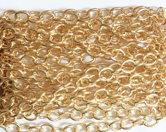 100ft spool light Gold plated round cable chain 4X5mm , gold bulk chain
