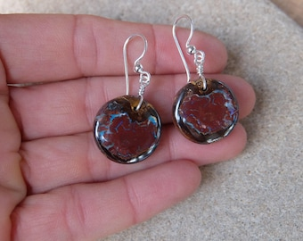 Boulder Opal earrings - round green brown natural stone jewelry -  handmade in Australia by NaturesArtMelbourne - unique light earrings