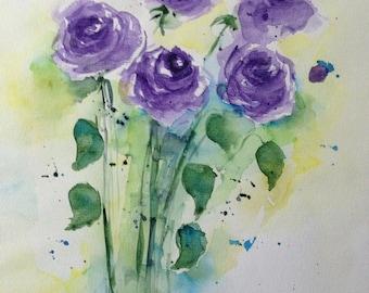 Original watercolor watercolor painting flowers picture unique art Watercolour flowers