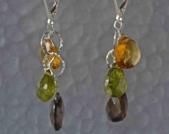 Smokey Quartz, Citrine, Vesuvianite Earrings in Sterling Silver- Gemstone Cluster Earrings