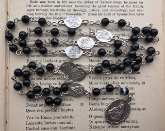 Servite rosary/Chaplet of the Seven Sorrows, black striped agate beads, handmade