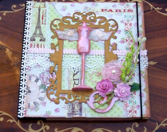 Journal Notebook Shabby Winged Mannequin Paris Chic
