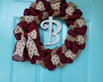Cheerful Stripes Burlap Wreath - Monogram