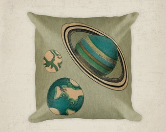 Planet Pillow Cover, Astronomy  Solar System Pillow, Planets Saturn Mars Earth Decorative Pillow, Vintage Image Home Decor