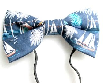 Seaside Sailboats Elastic Bow Tie / Sailboat Bow Tie / Nautical Bow Tie / Nautical Headband / Travel Bow Tie / Sailboat Headband / Traveler