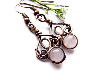 Simple Wire Pink Earrings Tutorial, Dangle Earrings Tutorial, Jewelry Tutorial 52