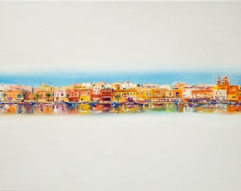 Malta painting, Interior painting, Malta Oil painting, Bright painting, Original oil painting Oil painting, Paletter knife, Oil on canvas