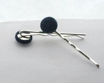 Denim Button Hair Pins / Chambray Fabric Button Barettes