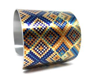 Geometric Bracelet, Checked Pattern Wrist Cuff Bracelet, Pattern Bracelet, Geometric Jewelry, Women's Statement Bracelet