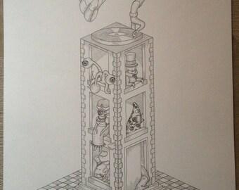 Le phonographe (dessin surréaliste)
