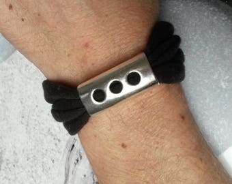 Bracelet chocolate jersey cotton and his passing silver