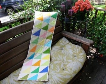 Pastel triangles table runner