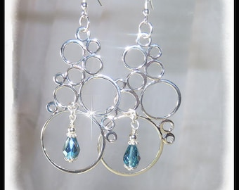 Sterling Silver Bubble earrings, Indonite AB crystal earrings, long earrings, summer earrings, fun earrings, blue green jewelry, handmade