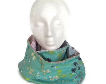 Infinity scarf snood reversible, mint green and gray