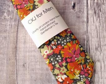 Floral Liberty tie  - orange floral tie - Liberty print tie - wedding tie - gift for him