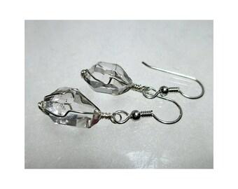 """ww1307 - 1/2""""+ Wirewrap HERKIMER DIAMOND EARRINGS - Argentium Sterling Silver"""