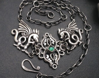 Sterling silver & green tourmaline dragon necklace, thick sterling chain, magical fantasy statement piece, art jewelry, Elfin Works design
