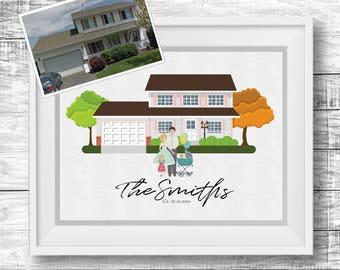 Personalized Home & Family Portrait - Printable Art, Digital Download, Custom Illustration