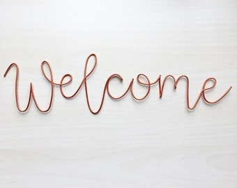 Handmade copper wire 'welcome' wall sign. Wire art, front door, scandi, wedding sign, wall sign, wall decor.