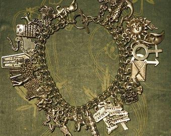 Lenomand Card Deck Charm Bracelet - Pagan, Divination, Wicca, Witchcraft
