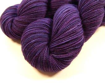 Hand Dyed Sock Yarn, Fingering Weight Superwash Merino Wool - Blackberry Tonal - Semi Solid Purple Knitting Yarn