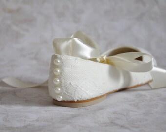 Lace wedding flats ballet flats with ribbon ivory lace bridal flats lace wedding flat shoes embellished shoes ivory wedding shoes
