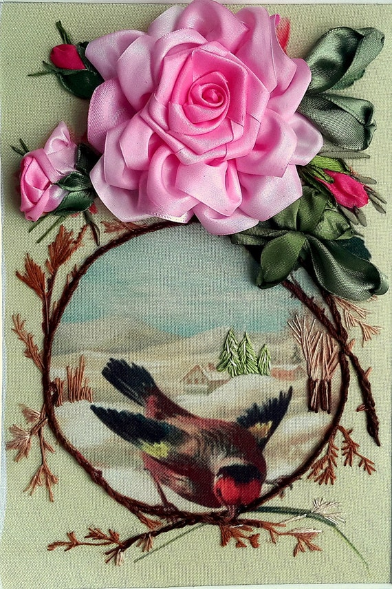 Small Picture Of A Bird With A Letter Silk Ribbon Embroidery