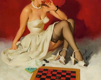 Pin Up Girl Art Print Reproduction, check_and_double_check_1949 by Gil Elvgren