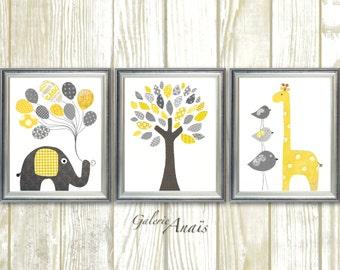 Yellow and gray Nursery art baby nursery decor print Kids art elephant giraffe bird Tree Home Decor Set of three prints
