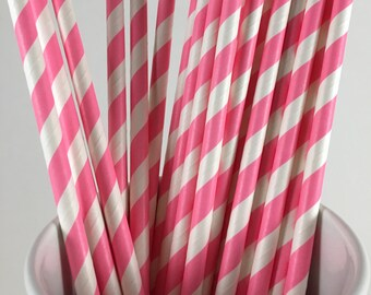 25 Hot Pink and White Striped Paper Straws-Baking, Party Favors, Baby Shower, Wedding, Cake Pops, Festive Drinking Straws